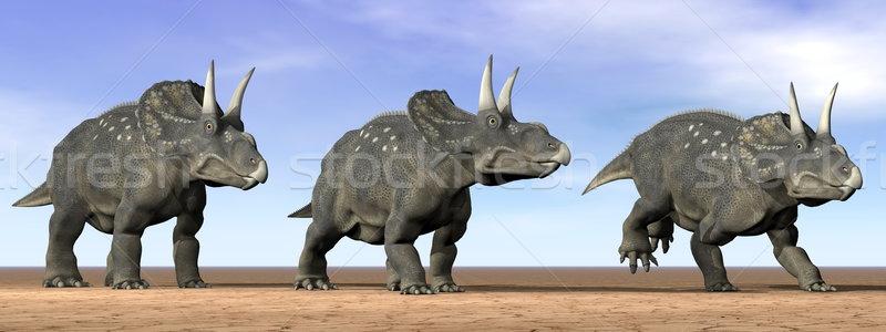 Dinosaurios desierto 3d tres pie cielo Foto stock © Elenarts