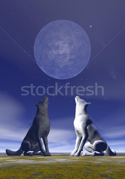 Howling wolves - 3D render Stock photo © Elenarts