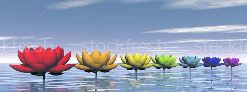 чакра Лилия цветы 3d визуализации цветами воды Сток-фото © Elenarts