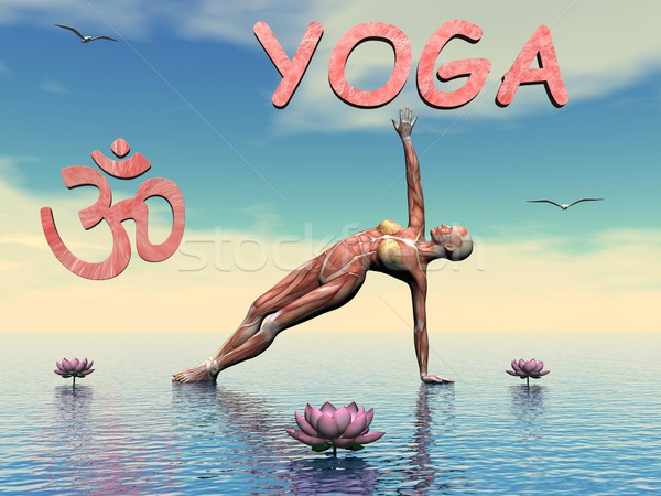 Yoga scene - 3D render Stock photo © Elenarts