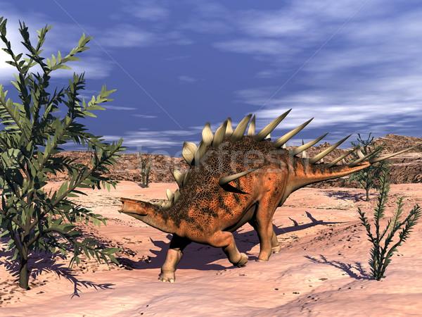 Dinoszaurusz 3d render sétál sivatag eszik növény Stock fotó © Elenarts