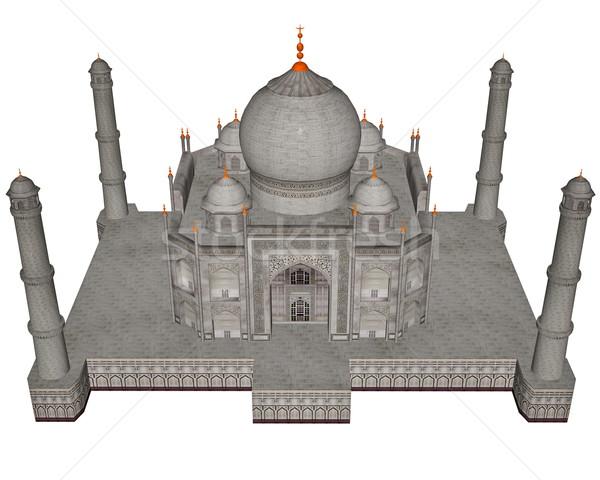 Taj Mahal mauzóleum 3d render izolált fehér épület Stock fotó © Elenarts