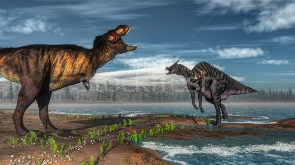 Tyrannosaurus rex and saurolophus dinosaurs - 3D render Stock photo © Elenarts