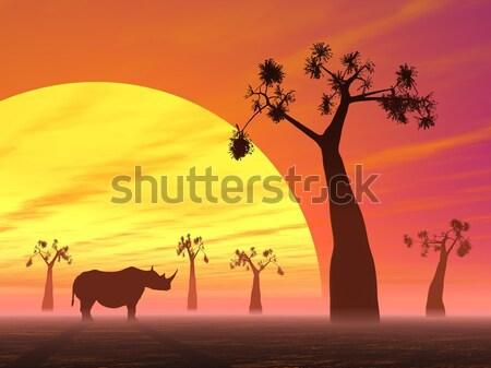 Manzara gün batımı gölgeler hayvanlar gökyüzü Stok fotoğraf © Elenarts