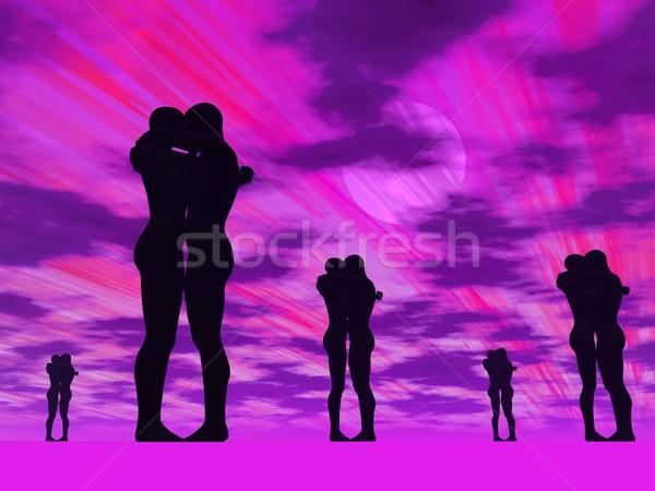 Couples in love - 3D render Stock photo © Elenarts