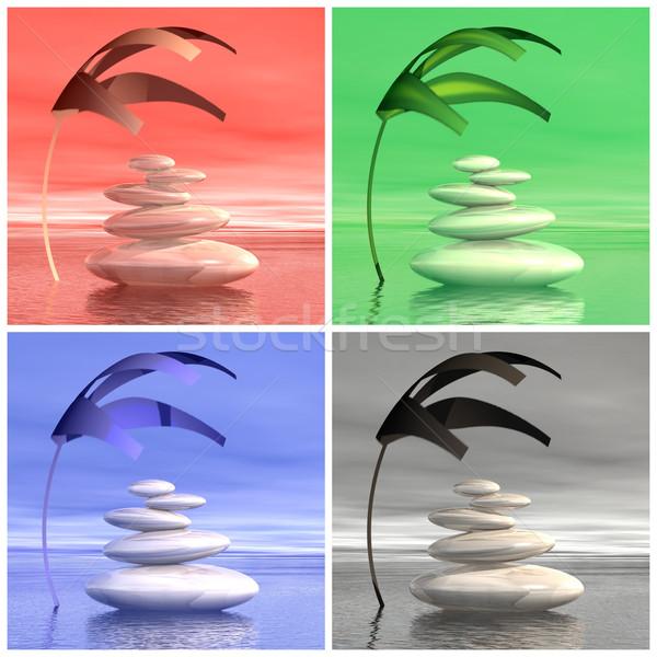 Сток-фото: красочный · zen · камней · 3d · визуализации · набор · сбалансированный