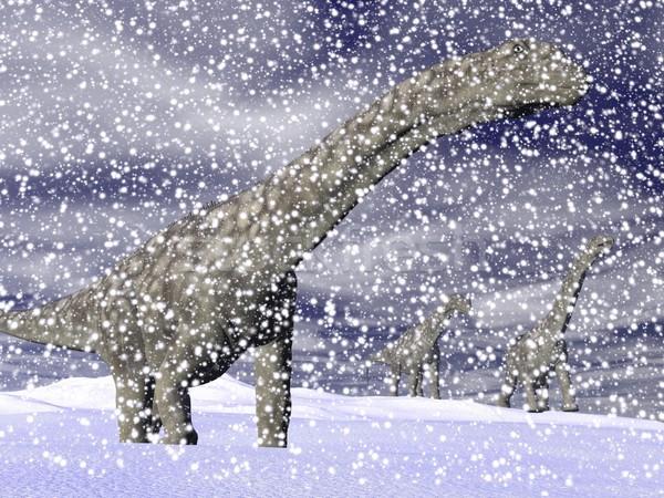 Argentinosaurus dinosaur in winter - 3D render Stock photo © Elenarts