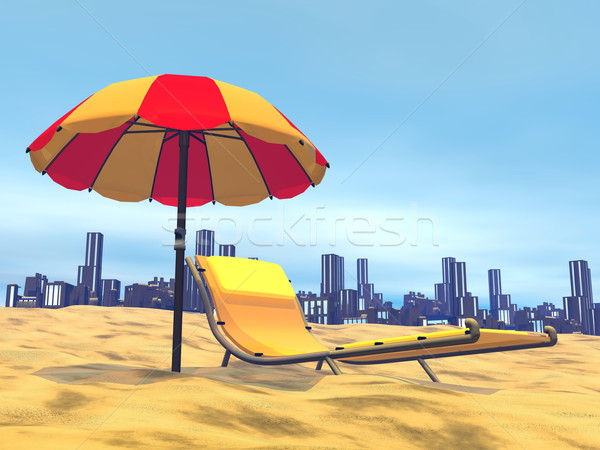 Summer relaxation, city behind- 3D render Stock photo © Elenarts