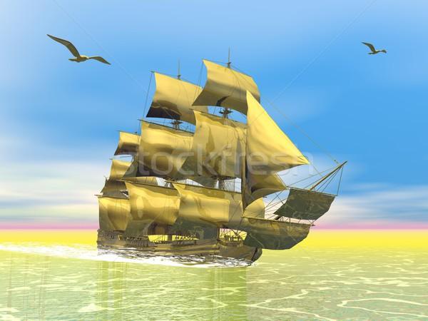 Golden old merchant ship - 3D render Stock photo © Elenarts