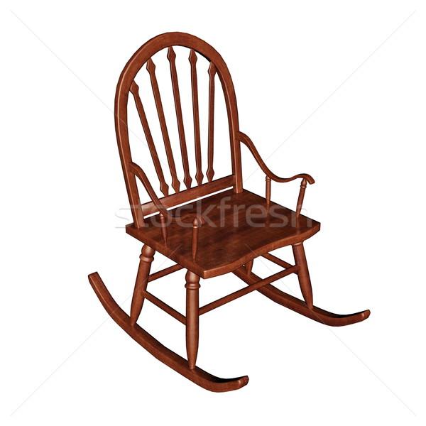 Schommelstoel 3d render bruin houten geïsoleerd witte Stockfoto © Elenarts