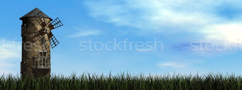 Oude windmolen 3d render dag gras landschap Stockfoto © Elenarts