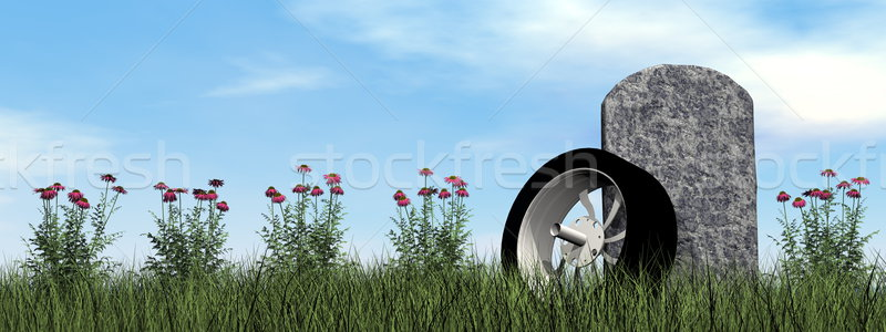Motorcyclist or driver tombstone - 3D render Stock photo © Elenarts