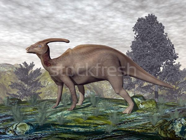 Dinossauro 3d render caminhada árvores plantas natureza Foto stock © Elenarts