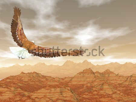 Stock photo: Bald eagle flying upon rocky mountains to the rainbow - 3D render
