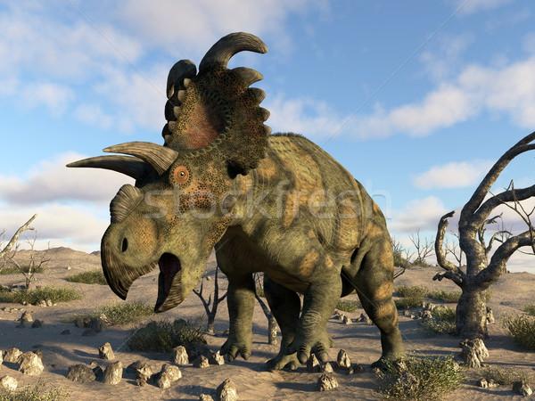 恐竜 砂漠 3dのレンダリング 日 動物 グラフィック ストックフォト © Elenarts