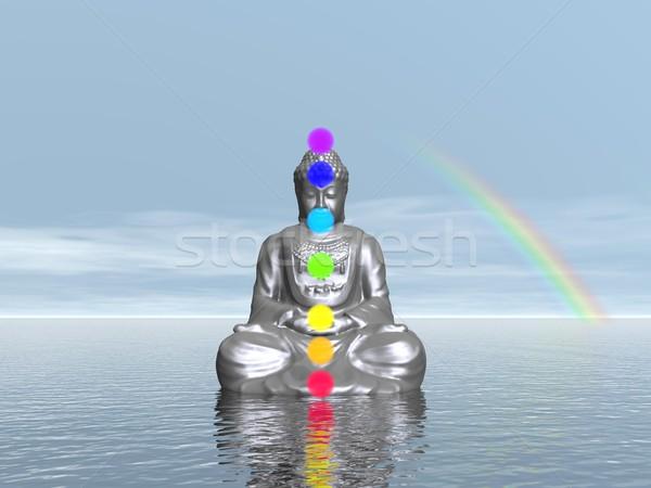 Pôr do sol 3d render buda meditando sete colorido Foto stock © Elenarts