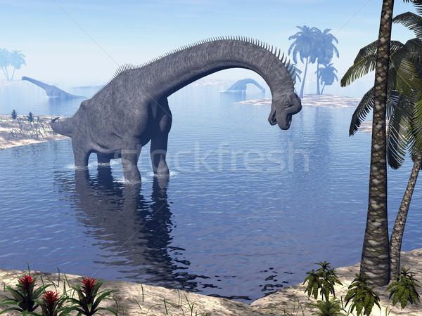 Brachiosaurus dinosaur in water - 3D render Stock photo © Elenarts