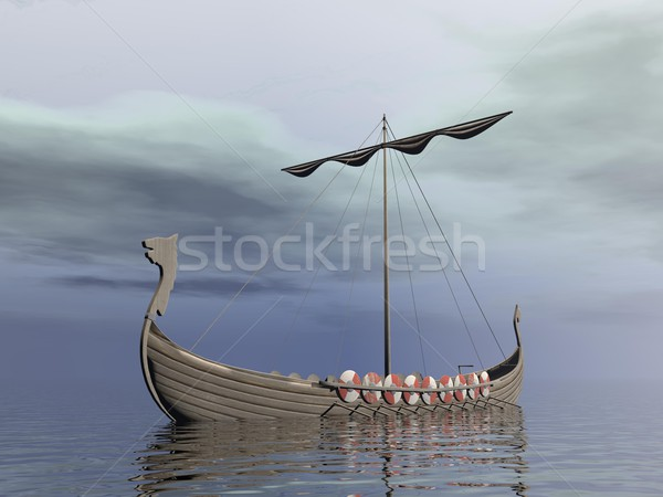 Viking drakkar - 3D render Stock photo © Elenarts