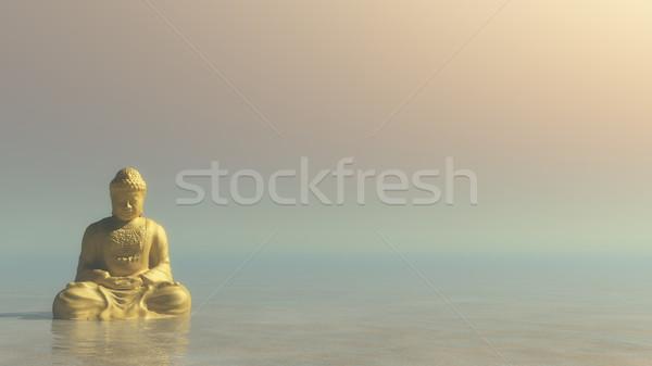仏 3dのレンダリング 瞑想 午前 光 ストックフォト © Elenarts