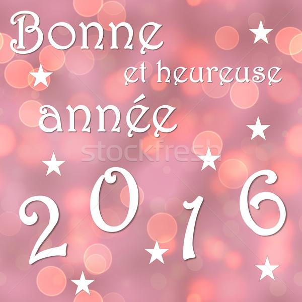 Feliz año nuevo 2016 francés 3d rojo bokeh Foto stock © Elenarts