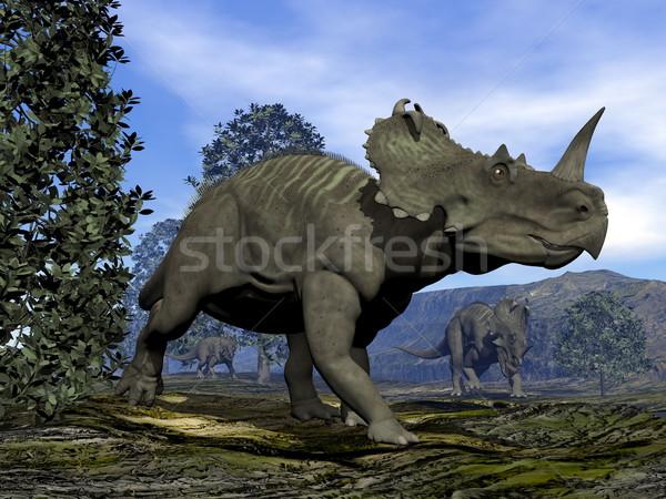 Динозавры 3d визуализации ходьбе магнолия деревья природы Сток-фото © Elenarts