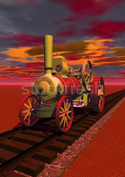 Vieux locomotive rail façon rouge nuageux Photo stock © Elenarts