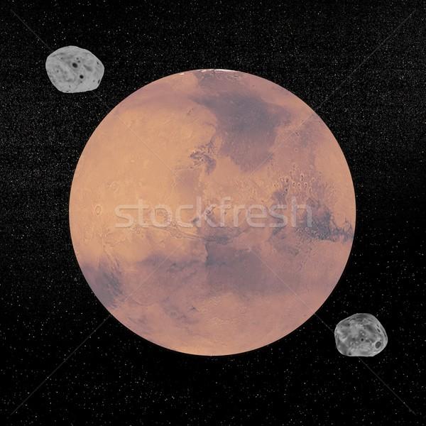 Mars planet and Deimos and Phobos satellites - 3D render Stock photo © Elenarts