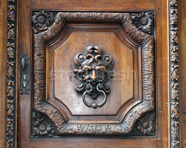 Knocker on an old wooden door Stock photo © Elenarts