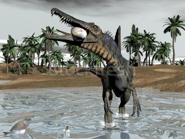 Spinosaurus dinosaur eating fish - 3D render Stock photo © Elenarts