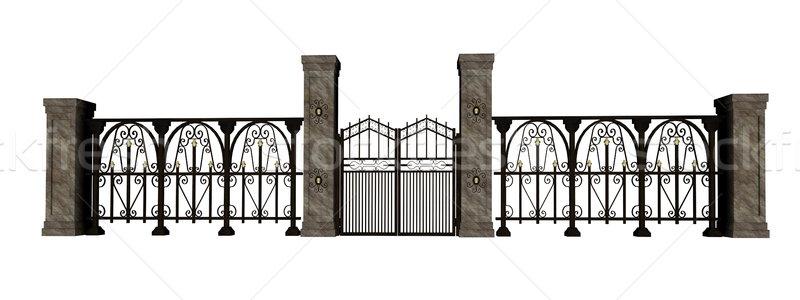 Ijzer poort hek gesloten groot witte Stockfoto © Elenarts