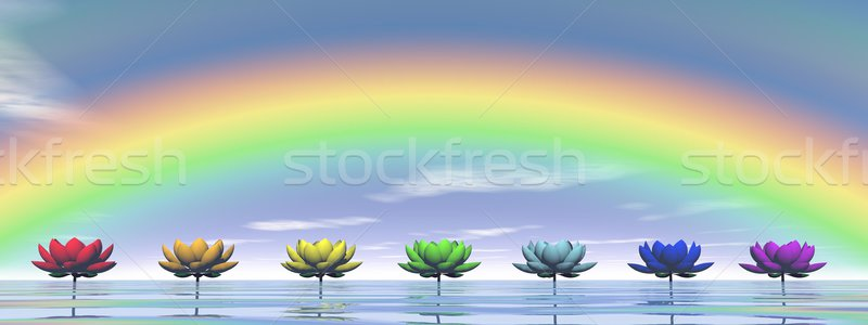 Chakras and rainbow - 3D render Stock photo © Elenarts