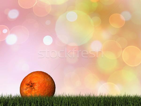 Jeden pomarańczy 3d trawy żywności owoców Zdjęcia stock © Elenarts