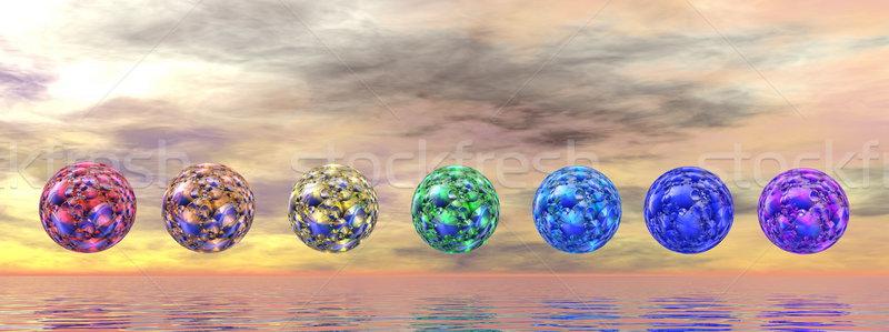 Chakra esferas 3d colorido puesta de sol agua Foto stock © Elenarts