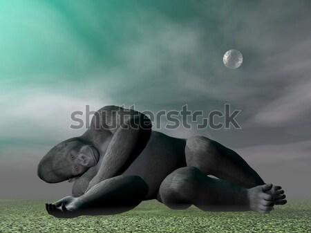 Gorilla gondolkodik 3d render fű szürke éjszaka Stock fotó © Elenarts