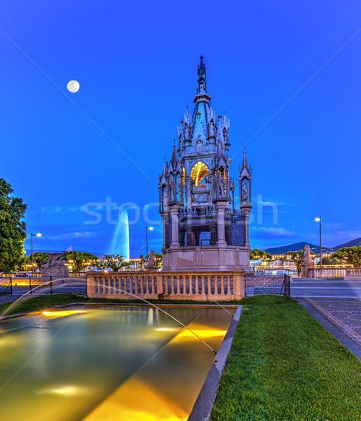 Fonte Suíça hdr noite cidade Foto stock © Elenarts