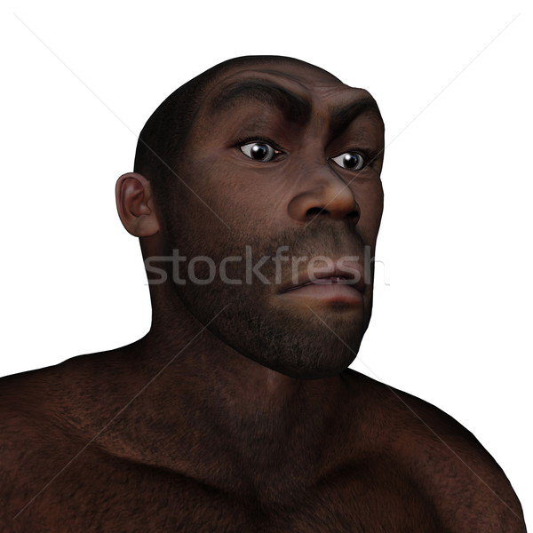 Stock photo: Male homo erectus angry - 3D render