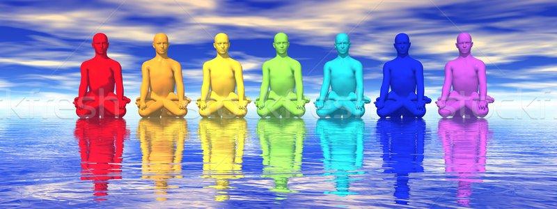 Meditáció hét emberi csakra színek meditál Stock fotó © Elenarts