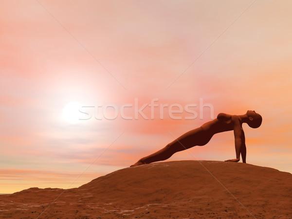 Upward plank pose, purvottanasana - 3D render Stock photo © Elenarts