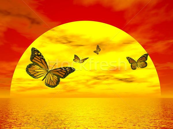 Butterflies monarch going to the sun - 3D render Stock photo © Elenarts