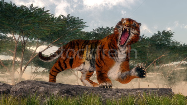 Tiger roaring - 3D render Stock photo © Elenarts