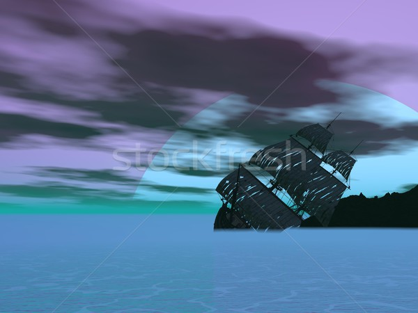 破壊 古い ボート 3dのレンダリング 海 曇った ストックフォト © Elenarts