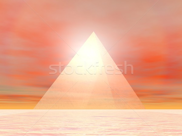 Pyramid to sun - 3D render Stock photo © Elenarts