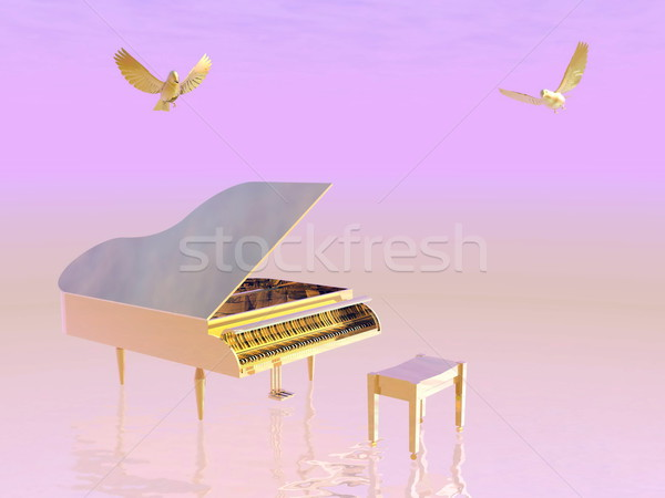 Golden grand piano - 3D render Stock photo © Elenarts