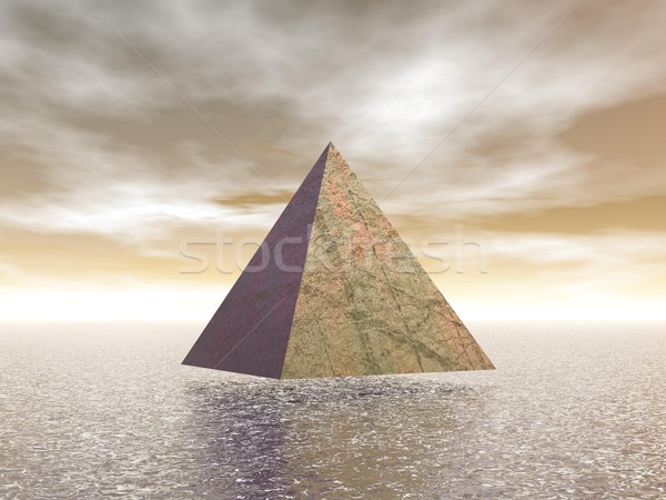 Stok fotoğraf: Piramit · 3d · render · bir · su · kahverengi