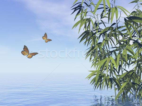 Stockfoto: Vlinders · 3d · render · water · dag · blad · achtergrond