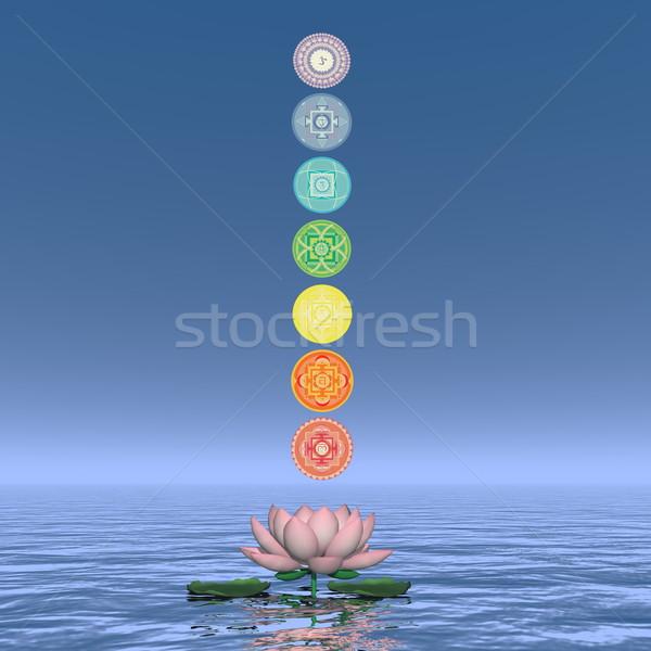 Zeven chakra symbolen kolom 3d render een Stockfoto © Elenarts