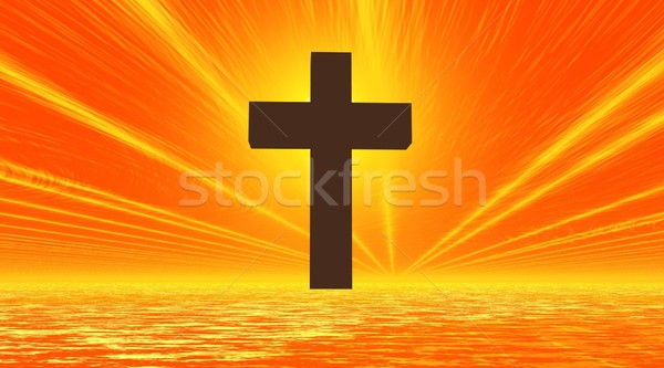Black cross enlightened Stock photo © Elenarts