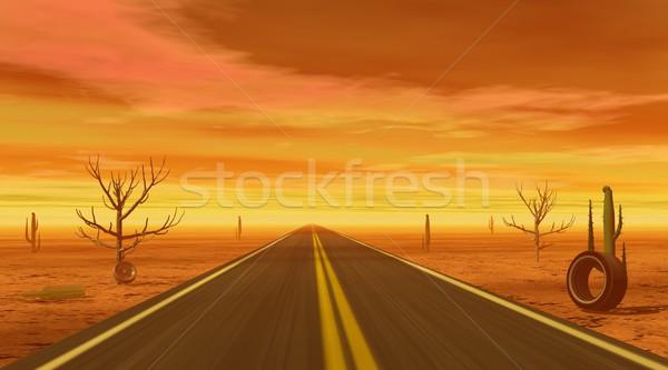Desert by foggy sunset Stock photo © Elenarts