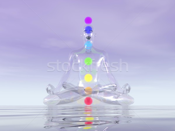 Rendu 3d transparent homme verre méditer sept Photo stock © Elenarts