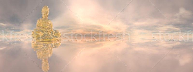 Dourado buda efeito 3d render um meditando Foto stock © Elenarts
